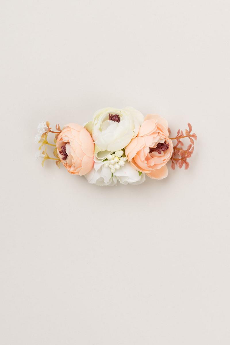 Ukosnica s cvjetovima (boja marelice i bijela)